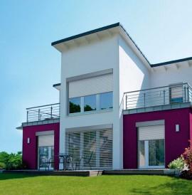 Hausfront mit Alulux Aluminium Rollladen