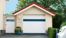 Garagentor Deckenlauftor Detolux in den Farben weiss und blau